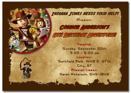 Lego Indiana Jones Invitation